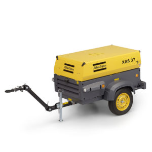 mobile compressor XAS 37 Kd with metal canopy, up to 7bar (102psi), fitted with a Kubota D905 diesel engine.