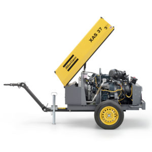 XAS 37 Kd mobile compressor opne engine view, Up to 7bar (102psi), fitted with a Kubota D905 diesel engine.