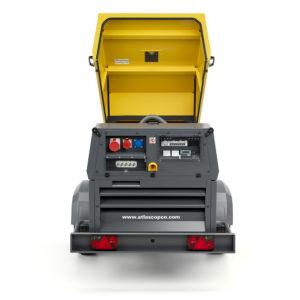 QAX 60 backside view generator, open hood, terminal board + sockets
