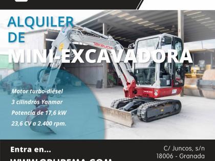 Alquiler de Mini-Excavadoras en Granada y Jaén